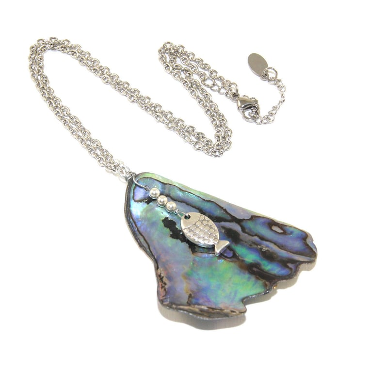 Silver Plated Blue Tones Abalone Paua Shell Owl Pendant Necklace