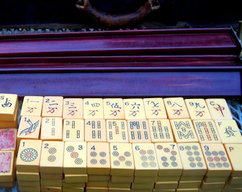 SALE~ Catalin Antique Mahjong Set with Bakelite Tiles Racks-Mahjong Collectible Chinese Game- Dragons, Winds, Flowers-Vintage Board Games