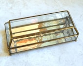 Large Glass Casket Jewelry Box Geometric Beveled Dome Brass Hinge Mirror Wavy Water Glass Rectangle Watch or Trinket Box Necklace Holder