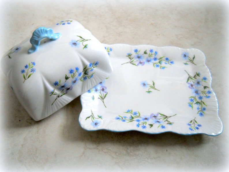 Antique Shelley Blue Rock Pattern Covered Butter Dish~ Made in England Number 13591~ Sweet Shabby Chic China~ Blue Floral Fine Bone China