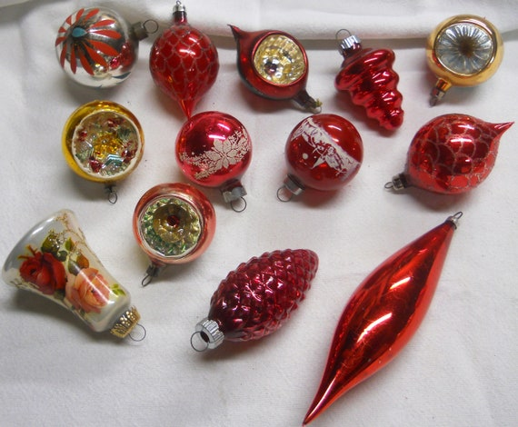 the best attitude 80aa5 b3ece Antique Christmas Ornaments~ Shiny Brite, Germany, Mixed Mercury Glass  Ornaments~ gold, red, silver flocked/mica Small 2-3 inch