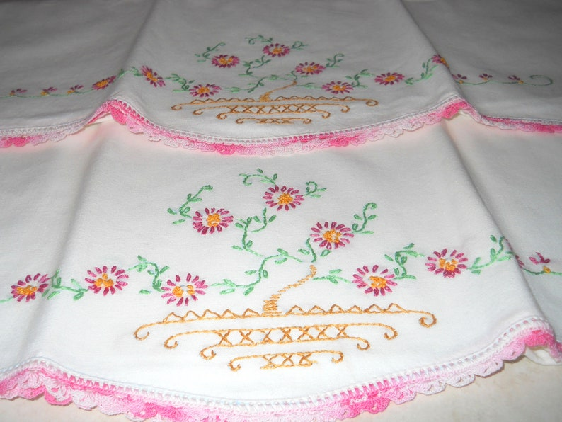 shabby chic easter decor on sale.htm vintage embroidered pillowcases handmade pillowcase shabby etsy  vintage embroidered pillowcases