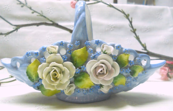 two home decor buttocks style baskets one small.htm vintage blue woven porcelain basket hand painted flowers etsy  porcelain basket hand painted flowers
