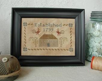 Primitive Cross Stitch Pattern - Grey House