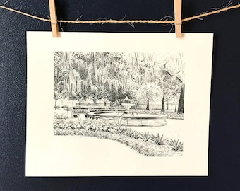 Savannah Pen and Ink Print - Orleans Square Fountain