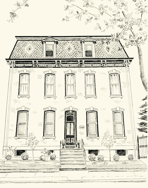 Custom Pen And Ink Architectural Drawing Of Your House Or