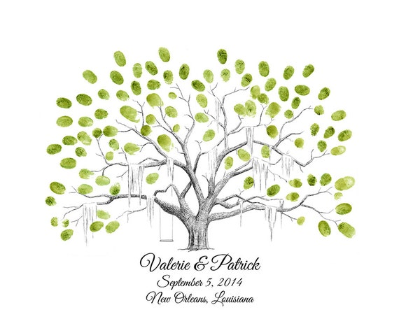 personalized savannah live oak thumbprint tree wedding etsy
