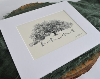 Marker 107 Live Oak Tree - Fine Art Print Pen and Ink Drawing - Richmond Hill Georgia - Nature Lover Gift - Housewarming Gift - Signed Print