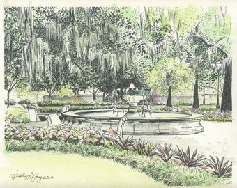 Orleans Square Fountain Savannah Georgia - Watercolor Painting - Fine Art Print - Hand Painted - Anniversary Wedding Gift for Husband Wife