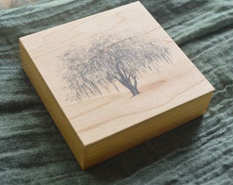 Hunter Oak Tree Art Print on Wood Block - Perfect for Nature Themed Gallery Wall - Pen and Ink Drawing by Heather L. Young
