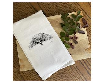 The Candler Oak Tree - Savannah Tea Towel - 100% Cotton Flour Sack Kitchen Hand Towel