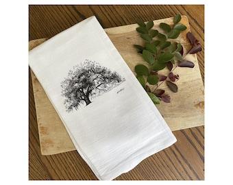 Ophelia Oak Tree - Tea Towel - 100% Cotton Flour Sack Kitchen Hand Towel