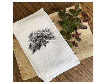 Old Dairy Oak Tree - Savannah Tea Towel - 100% Cotton Flour Sack Kitchen Hand Towel