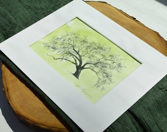 Gateway Oak - Live Oak Tree Pen and Ink Illustration - Hand Painted Watercolor - Richmond Hill, Georgia - Savannah Local Art