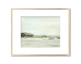 Coastal Painting - Georgia Seascape - Watercolor Fine Art Giclee Print - Beach Art - Nautical Decor - Lowcountry Art Lover Gift - Nautical