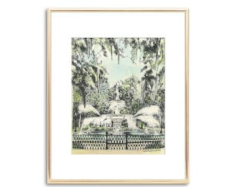 Savannah Forsyth Park Fountain - Hand Painted Watercolor - Pen and Ink Drawing - Signed Print - Vintage Style - Unique Couple Wedding Gift
