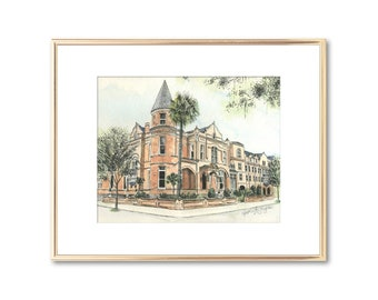 The Mansion on Forsyth Park - Watercolor Painting - Fine Art Print - Hand Painted Signed- Savannah Wedding or Anniversary Gift - Keepsake
