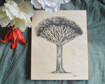 Dragon Tree Pen & Ink Drawing on Wood Panel - Fine Art Print - Wooden Wall Art - Nature Art Print - Tree Art Collection - House Warming Gift
