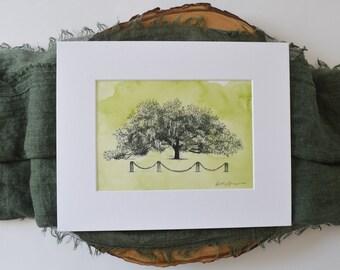 Marker 107 Live Oak Tree - Fine Art Print Hand Painted - Richmond Hill Georgia - Nature Lover Gift - Housewarming Gift - Signed Print