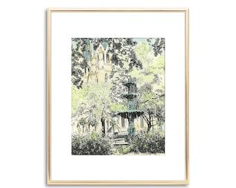 Lafayette Square Savannah - Hand Painted Watercolor - Fine Art Print - Wedding Gift - Keepsake - Anniversary Gift - Vintage Style - Painting