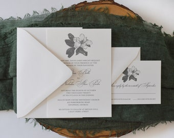 Magnolia Blossom White and Gray Wedding Invitation Suite - Southern Charm - Outdoor Wedding - Bridal Southern Belle - Floral Invitation