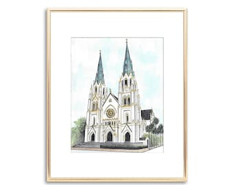 The Cathedral of St. John the Baptist Savannah Watercolor Painting - Hand Painted Fine Art Print - Wedding Gift - Anniversary Bridal Gift