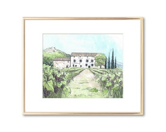 Maison Basse Lacoste France - Hand Painted Watercolor - Pen and Ink Drawing - Signed Fine Art Print - Unique College Graduation Gift - SCAD