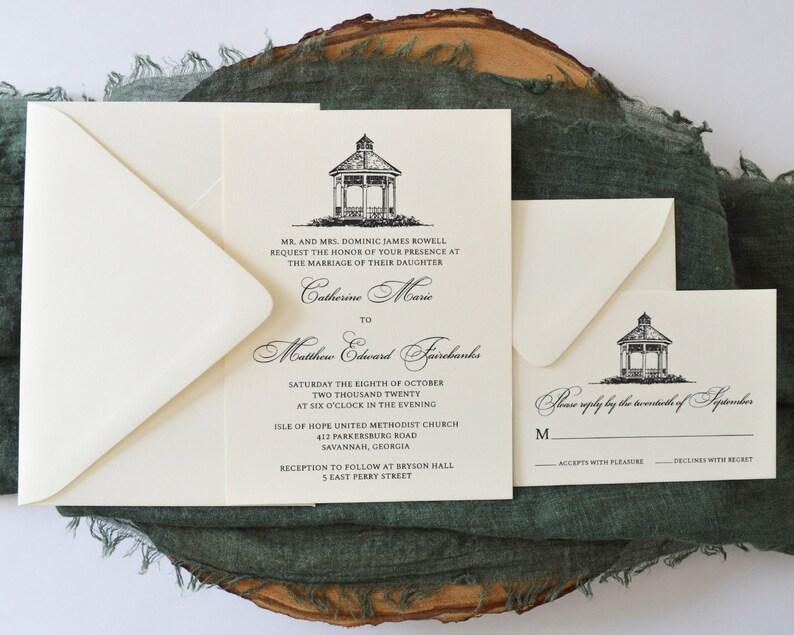Gazebo Ivory And Black Wedding Invitation Set Elegant Etsy