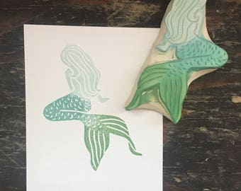 Mermaid Rubber Stamp | Hand Carved