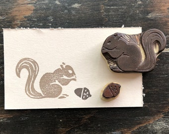 Squirrel and Acorn Rubber Stamp Set Hand Carved Squirrel Stamp with Acorn Stamp