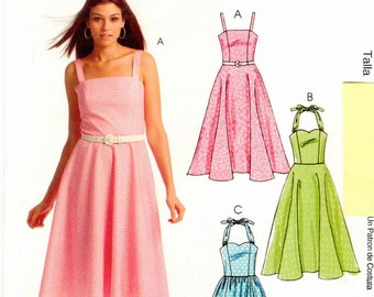 McCall's UNCUT Easy Stitch 'n Save Pattern M5564 - Misses Halter Dresses with Flared Skirts