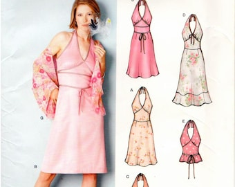 New Look UNCUT Pattern 6242 - Halter Dress, Halter Top, Skirt, and Shawl - Sizes 6-16