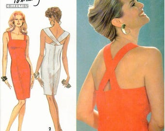 Simplicity Easy to Sew Pattern 8341 - Christie Brinkley Collection - Misses/Miss Petite Fitted Knee Length Dress, Shoulder Straps, Back Slit