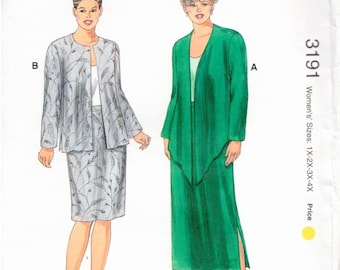 Uncut PLUS SIZES Kwik-Sew Pattern 3191 - Women's Jackets & Skirts Designed for Light-to-Medium Wt. Woven and Firm Knit Fabrics - Sizes 1X-4X