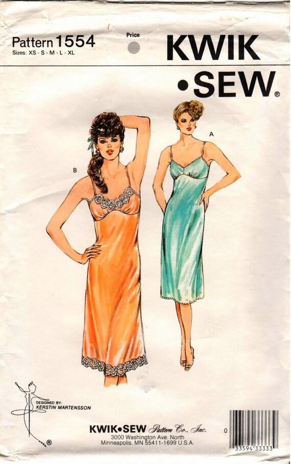Vintage Uncut Kwik Sew Pattern 1554 Misses Full Slips Etsy