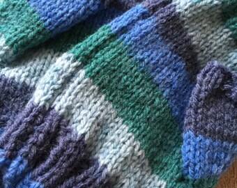 Fingerless handwarmers multi colour, green knitted gloves, self striping yarn, woollen mitts, colourful gloves, bright gloves, hand knitted