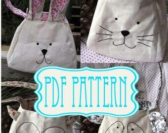 Bag Sewing Pattern, PDF, Rabbit, cat, panda, owl, bunny, sewing pattern tutorial, instant download bag, gift bag. Animal  Sewing Pattern.