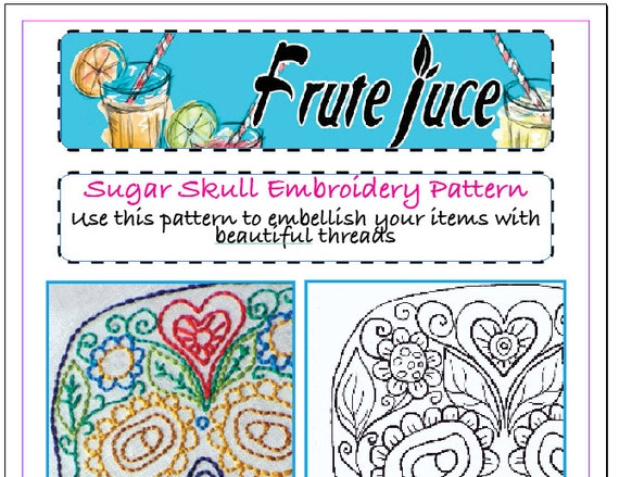 Sugar Skull Embroidery Pdf Pattern Sugar Skull Hand