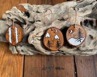3 Decorative wooden slices, rustic home decor, Wood Slice Christmas Decorations, painted wooden slice decorations, copper hanging ornament