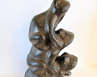 """Decorative Frog Antique Seaworn Bronze Cast Iron Frog Hook 6/"""" Door Hook"""