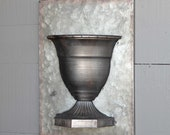 Galvanized Metal Wall Urn Vase Real or Faux Plant Holder Pot Planter
