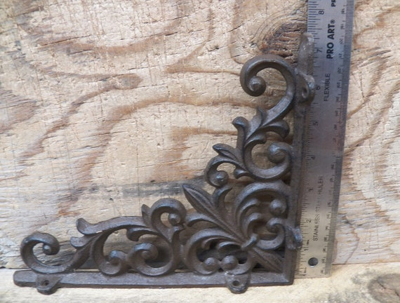 "Set of 4 Cast Iron Shelf BRACKETS New Antique Style Fleur De Lis 7.5/"" x 7.5/"""