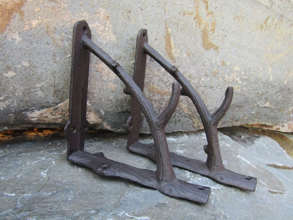 Set of 4 Cast Iron Shelf Brackets New Antique-Style Rustic Dragonfly 9 x 6.5 Hooks, Brackets & Curtain Rods