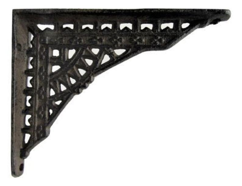 Set of 4 Cast Iron Shelf Brackets SMALL 6.25 x 4.25 Hangers New Antique Style Antiques