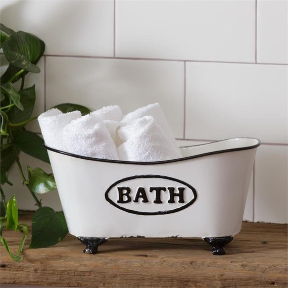 Vintage Inspired Enamel Mini Bathtub Soap Dish Sponge Holder Black /& White