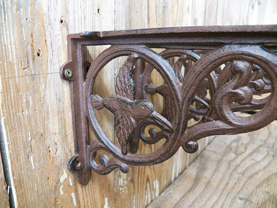 "4 BROWN ANTIQUE-STYLE 6.5/"" SHELF BRACKETS CAST IRON rustic garden DECORATIVE"