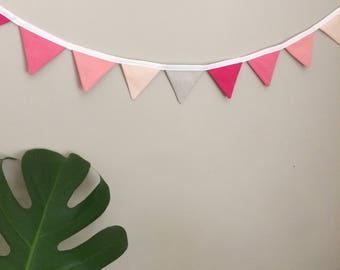 Tiny flags organic fabric bunting