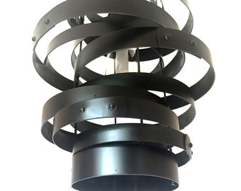 Vortex, repurposed wine barrel steel rings, metal hoops pendant light, chandelier, black, glass shade, custom lighting decor