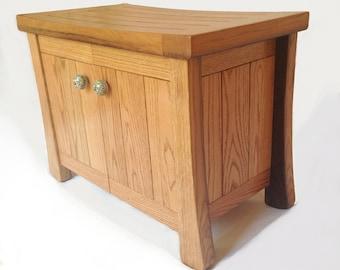 Aly, small oak cabinet bench recycled wine fermentation tanks, shoe storage
