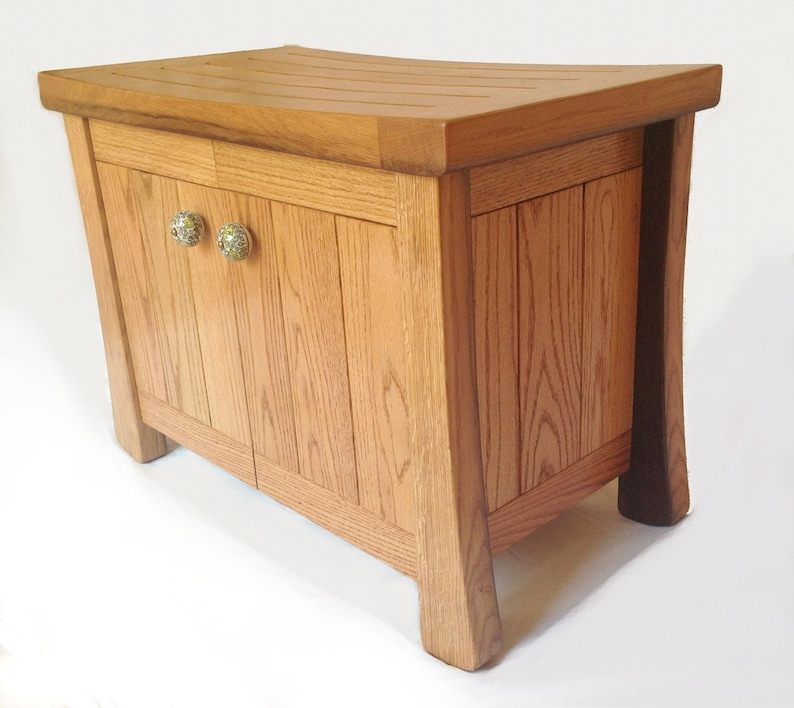 Aly small oak cabinet bench recycled wine fermentation tanks image 0